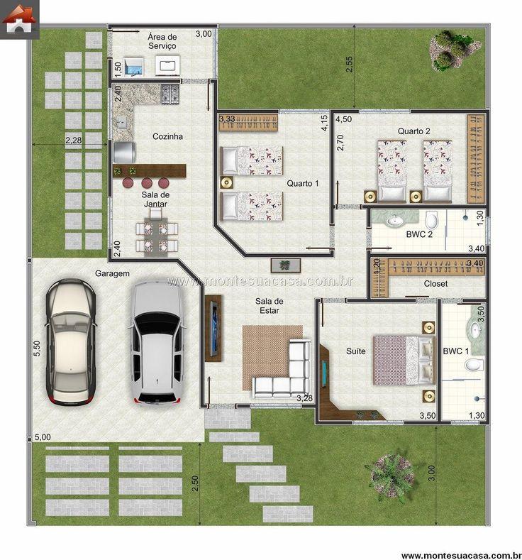 Projetos Casas Com 3 Quartos