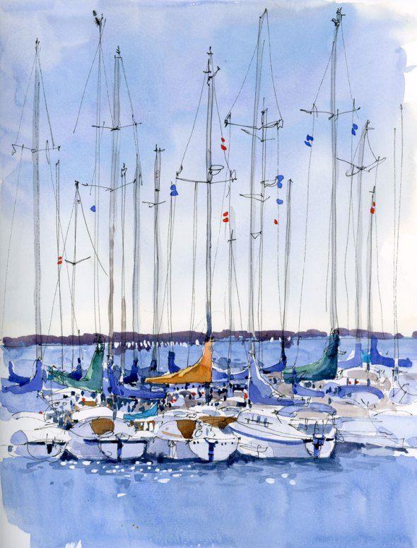 """Harbour"" -  by Shari Blaukopf: Blaukopf Watercolor, Shari Blaukopf, Art Watercolor, Watercolorist Shari, Watercolour Art, Harbour Jpg, Sketch Watercolor, Water Colors, Shariblaukopf"