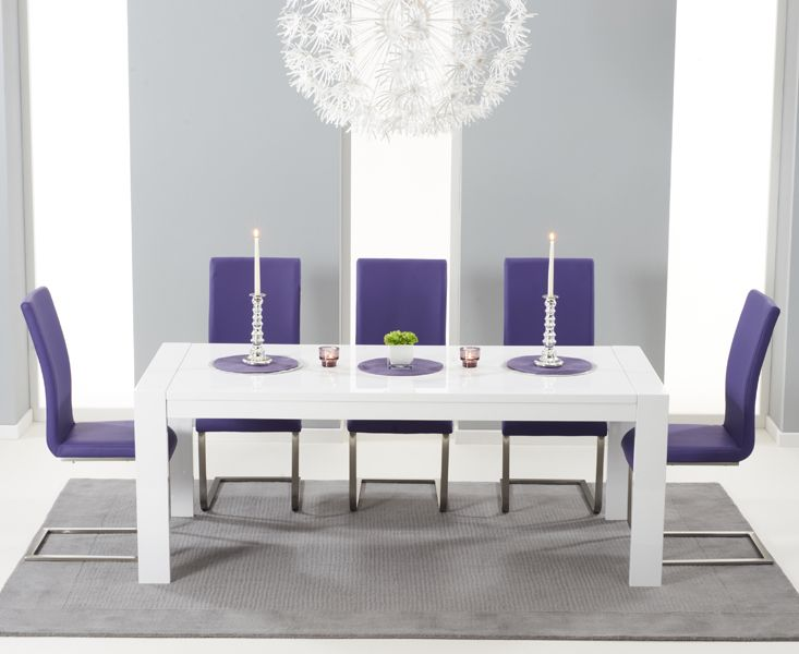 With 8 Chairs Extends To The Venice White High Gloss Extending Dining Table Malaga At Oak Furniture Superstore