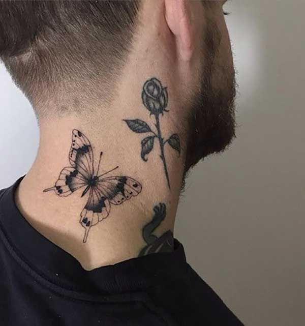Erkek Boyun Kelebek Dovmesi Butterfly Tattoo For Man Mens