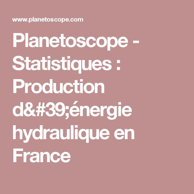 Planetoscope - Statistiques : Production d'énergie hydraulique en France