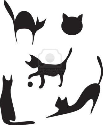 dessin-silhouettes de chats dans différentes poses.  Banque d'images
