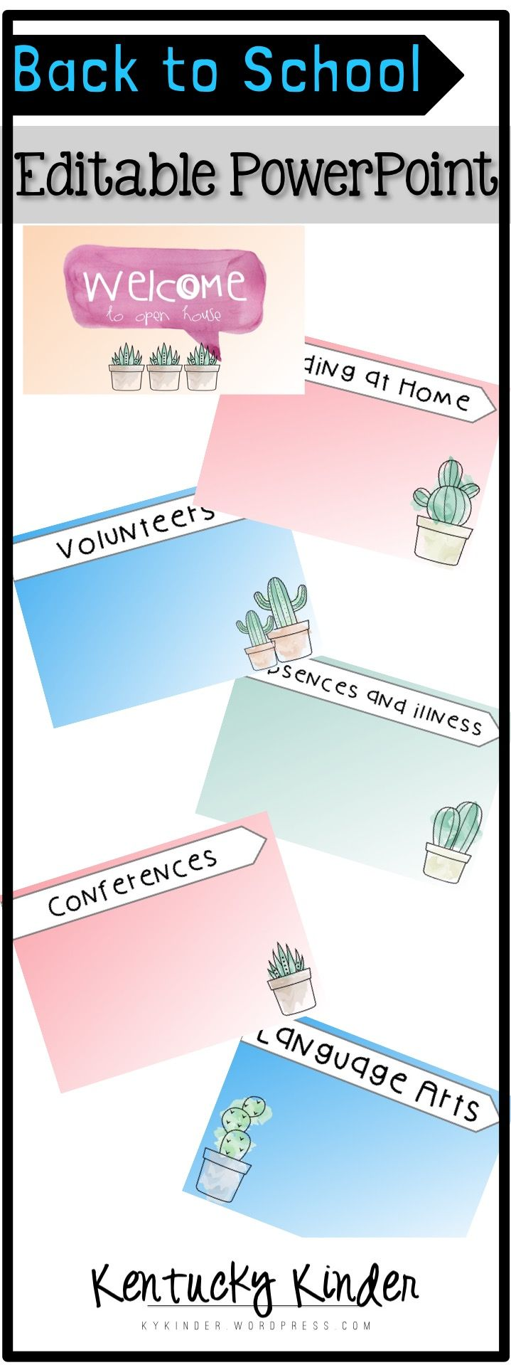 Open House PowerPoint with watercolors and succulents! Editable for you to input all of your information