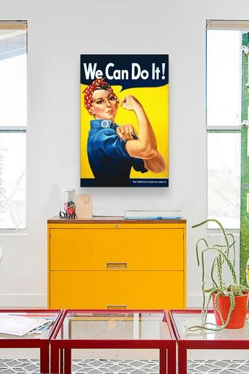 Yellow file cabinet and matching wall art.