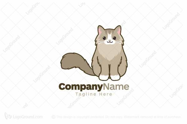 Logo for sale: Brown Siberian Cat Logo
