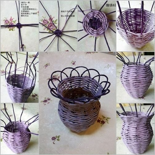 69 best paper weaving diy images on pinterest newspaper crafts how to diy woven flower vase from paper roll mightylinksfo