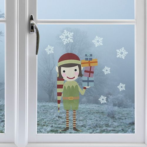 Fensterbild weihnachtself produkte for Kinderzimmer fensterdeko