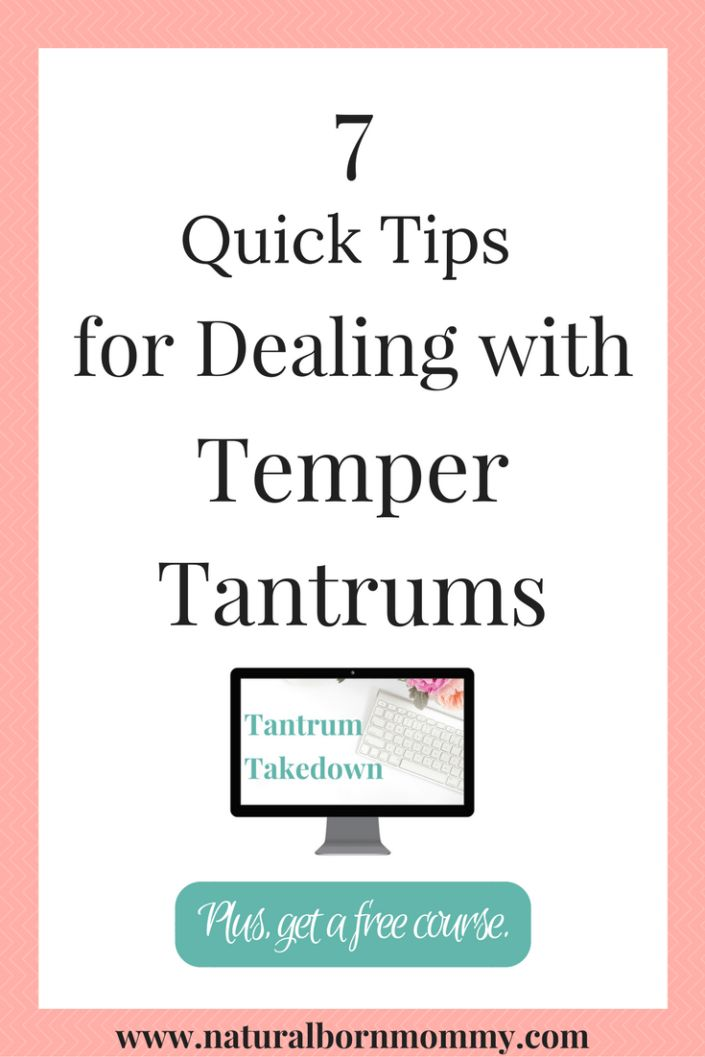 Struggling with your child's meltdowns? Here are 7 quick tips to help with dealing with temper tantrums. Plus, get a FREE parenting course on tantrums.