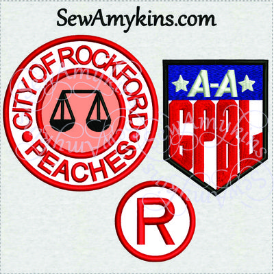 Digital embroidery Files: A League of Their Own Applique designs AAGPBL - Rockford Peaches NOT a Patch