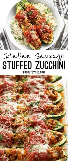 Italian Sausage Stuffed Zucchini is a simple, flavorful, and lighter alternative to lasagna. @budgetbytes