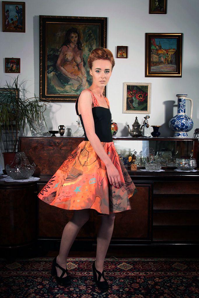 "a dress; a painting by Dariusz Vasina entitled ""Zodiac""; photo: Dawid Kot, model: Anna Maria Marylska"