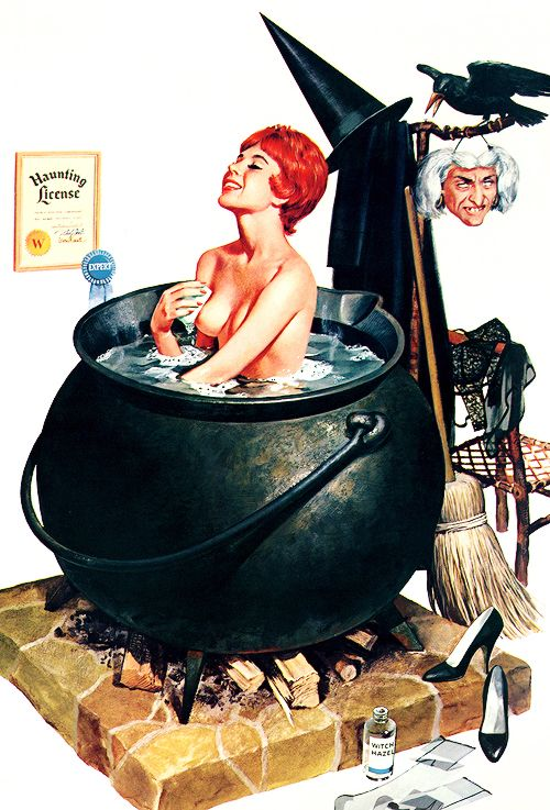 "gravesandghouls:  31 Days ofHalloween pin-ups 11/31—>""Bathing Witch"" by Ren Wicks, 1964"