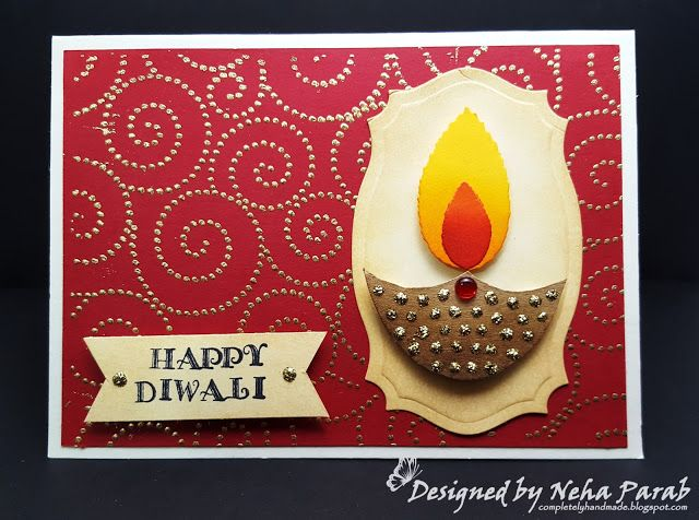 Completely Handmade......: Diwali Cards - Day 2