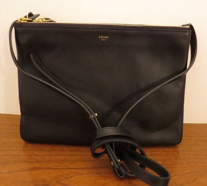 Celine Trio Large Leather New Authentic Crossbody Black Handbag ...