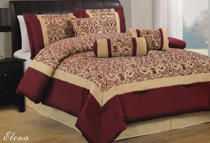 Burgundy Gold Floral 7Pc Comforter Set King Size Brand New  Elena in 2019  Sewing  Comforter