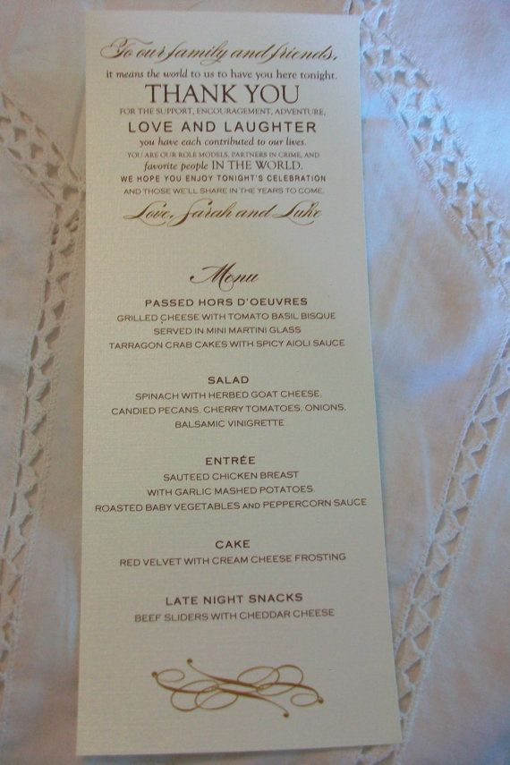 Wedding Menu Card  Thank You Design  your choice of by cdkane59, $0.20