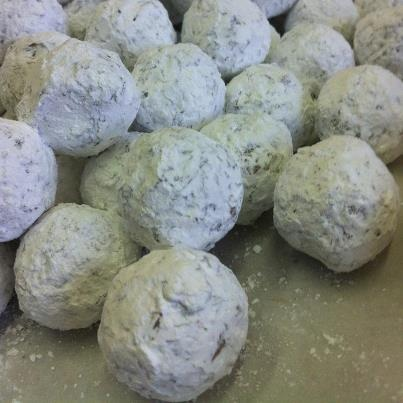 Santa's Addiction double peppermint dark chocolate fudge truffles.  Cocopotamus by NYDC Chocolate