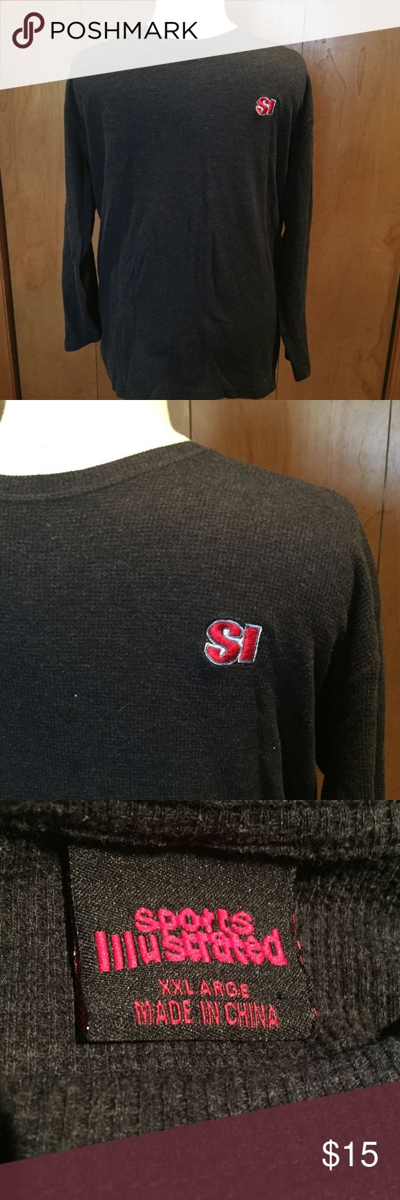 Sports ILListrated long sleeve waffle weave-sz XXL Dark gray with red SI LOGO sports illistrated Shirts Tees - Long Sleeve