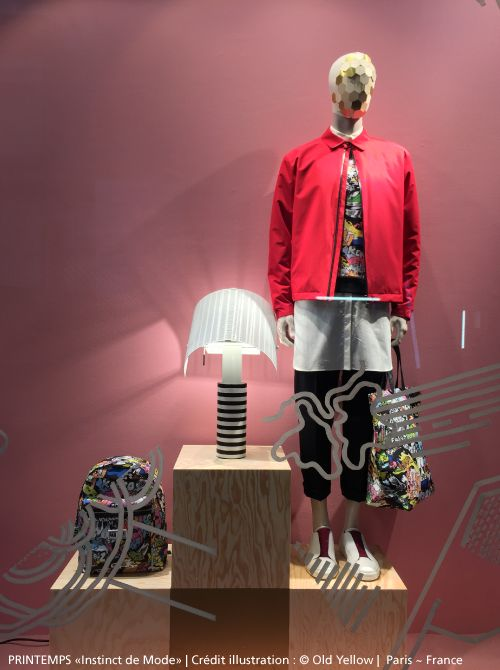 The #Shogun lamp is being honored in this beautiful showcase of man's building at Printemps department store in Paris ~ France, until the end of March! #design Mario Botta ► http://bit.ly/ShogunTavolo