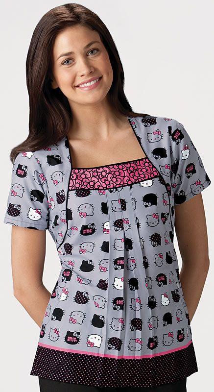 Scrubs - Cherokee 100% Cotton Hello Kitty Expressions Square Neck Scrub Top | Cherokee Tooniforms Scrubs | Cherokee Scrubs | www.LydiasUnifo...