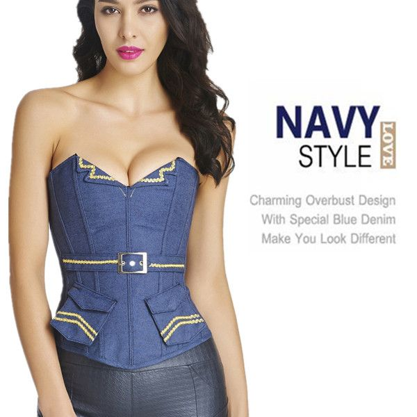 Halloween Sexy Denim Navy Style Overbust Side Zipper Belt Pocket Cosplay Bustiers Corset