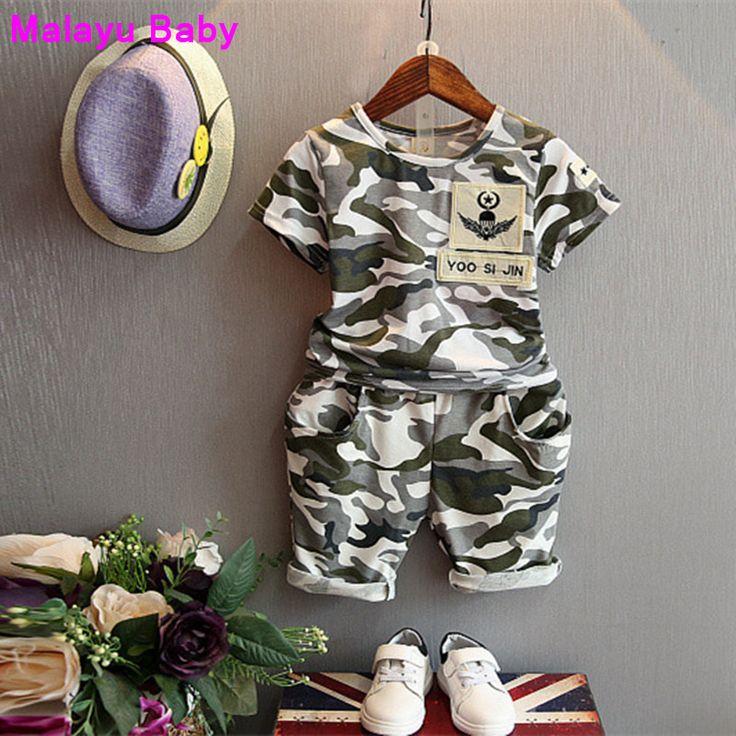Melayu Bayi 2016 anak busana musim panas bayi laki-laki pakaian set 2 pcs kamuflase olahraga sesuai pakaian set anak laki-laki perempuan set 2-7Y