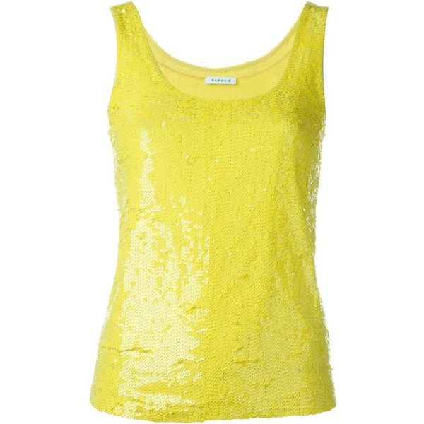 P.A.R.O.S.H. sequin tank ($300) ❤ liked on Polyvore featuring tops, yellow, yellow top, sequin tank top, sequin tank, yellow tank and sequin embellished top