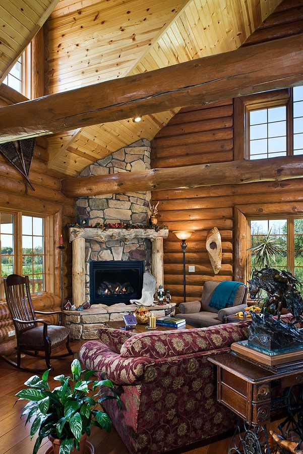 16 best images about luxury log homes on pinterest log for Log cabin fireplace designs