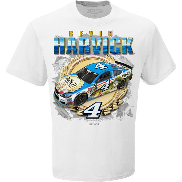 Kevin Harvick Stewart-Haas Racing Team Collection Busch Beer Fishing T-Shirt - White - $16.99