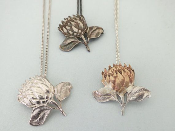 Sterling Silver Protea Pendant on Chain by Artistic925Jewellery