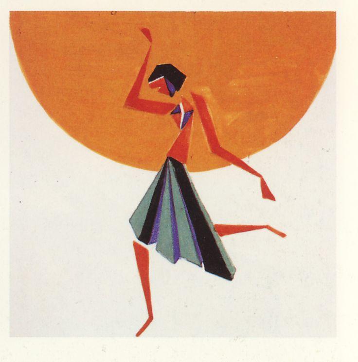 Danzatrice, mattonella in ceramica decorata, 1929