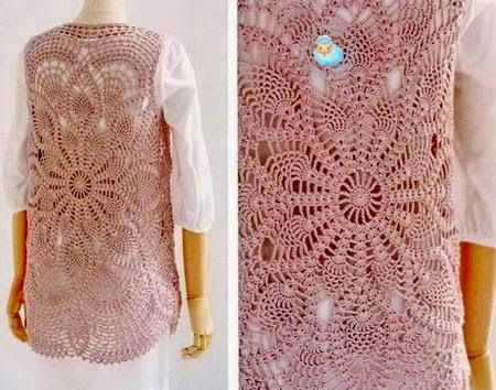 fabulous Lace Tunic           The pattern of this fabulous Lace Tunic + 18 Beautiful Pineapple Crochet Designs for Ladies Wear are in:   ...