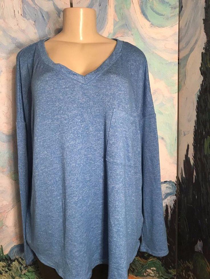 Calvin Klein Plus XXL Blue Space- Dye V-Neckline Pocket Long Sleeve Tunic Top  #CalvinKlein #Tunic #Casual