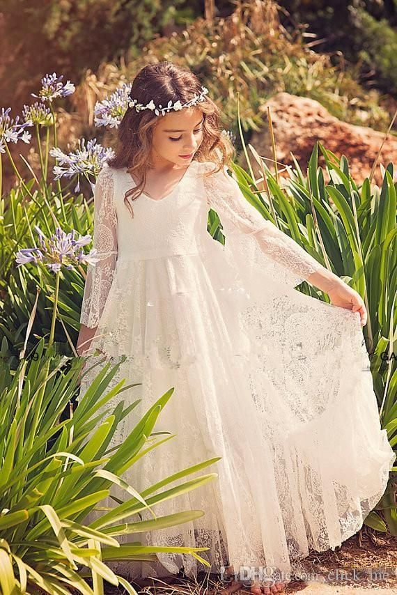 2016 Ivoor Kant Bloem Meisjes Dresse Voor Bruiloften V hals Lange Mouwen Meisjes Pageant Toga Meisjes Communie Toga in 1. Laat bericht in volgende voorwaarde: wilt u custom made grootte en kleur; vertellen ons de exacte datum je de jurk;  van   op AliExpress.com | Alibaba Groep