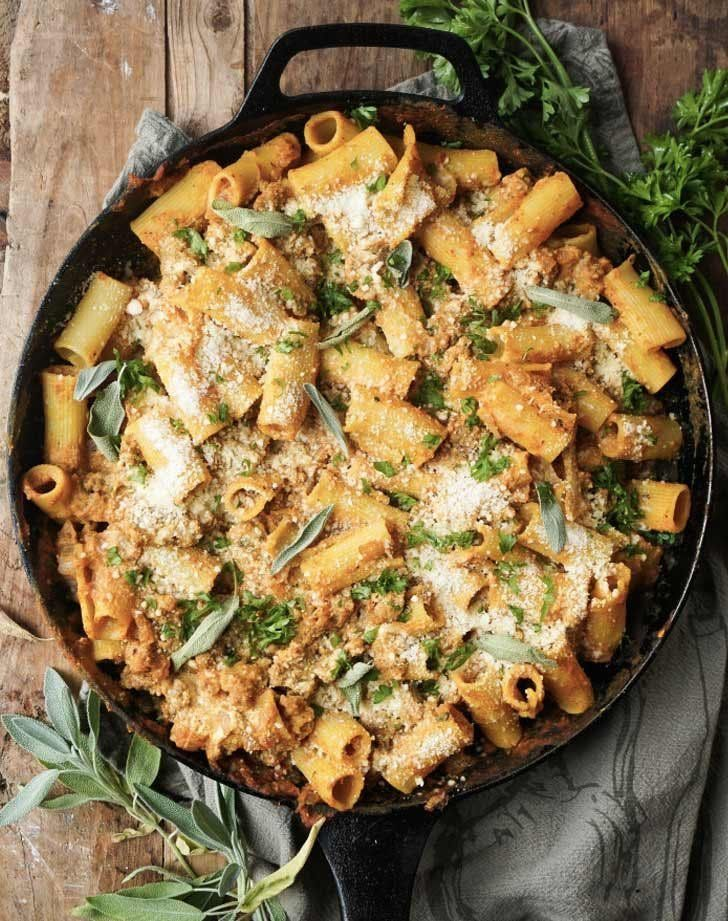 Pumpkin baked ziti with sage sausage. Get this and more delicious fall pumpkin recipes here. #pumpkinrecipes #fallrecipes #fall #recipes #pastarecipes
