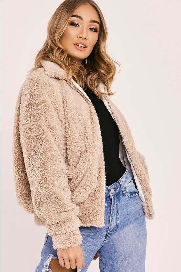 5620be7ee Kaelia camel teddy fur bomber jacket in 2019 | Fashion | Fur bomber ...