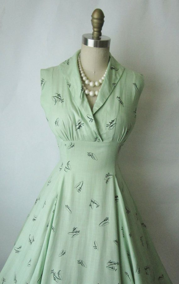 50's Atomic Print Dress // Vintage 1950's Lime by TheVintageStudio