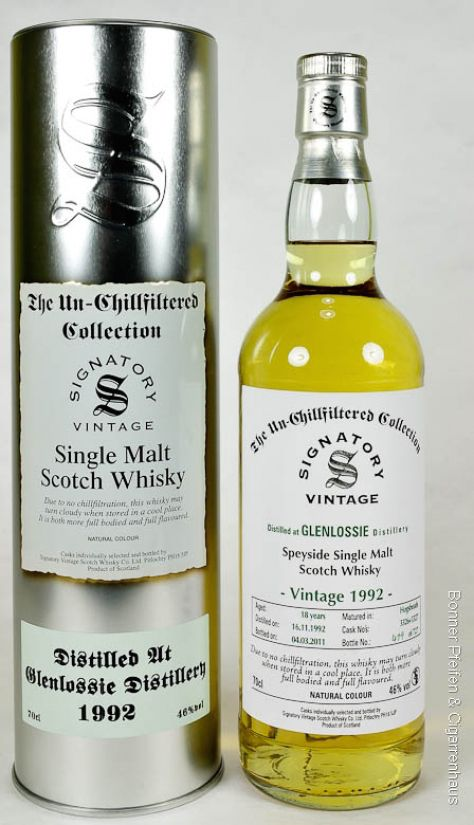 Signatory Vintage Whisky Glenlossie 18 y.o.. Vintage 1992, 46%, 0,7l, non chill filtered, Region: Speyside, 18 y.o., Distilled: 16.11.1992, Bottled: 04.03.2011, Matured in: Hogsheads, Cask No.: 3326+3327, Bottles: 727