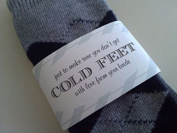 Don't get COLD FEET - Sock Wrapper for the groom from your bride - READY to ship on Etsy, $4.95