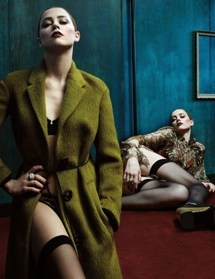 Hilary Blonde: Amber Heard luce modelos de  lencería  para  W Mag...