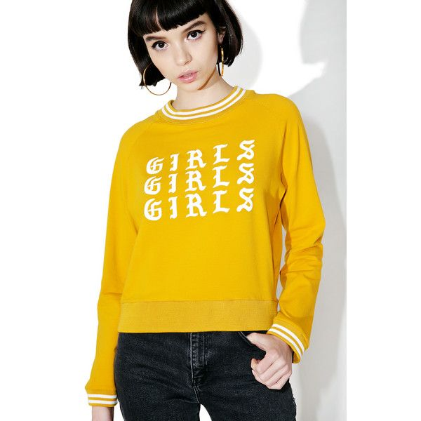 Valfré Girls Girls Girls Sweatshirt ($68) ❤ liked on Polyvore featuring tops, hoodies, sweatshirts, slouchy sweatshirt, mock neck top, yellow top, yellow sweatshirt and slouchy tops