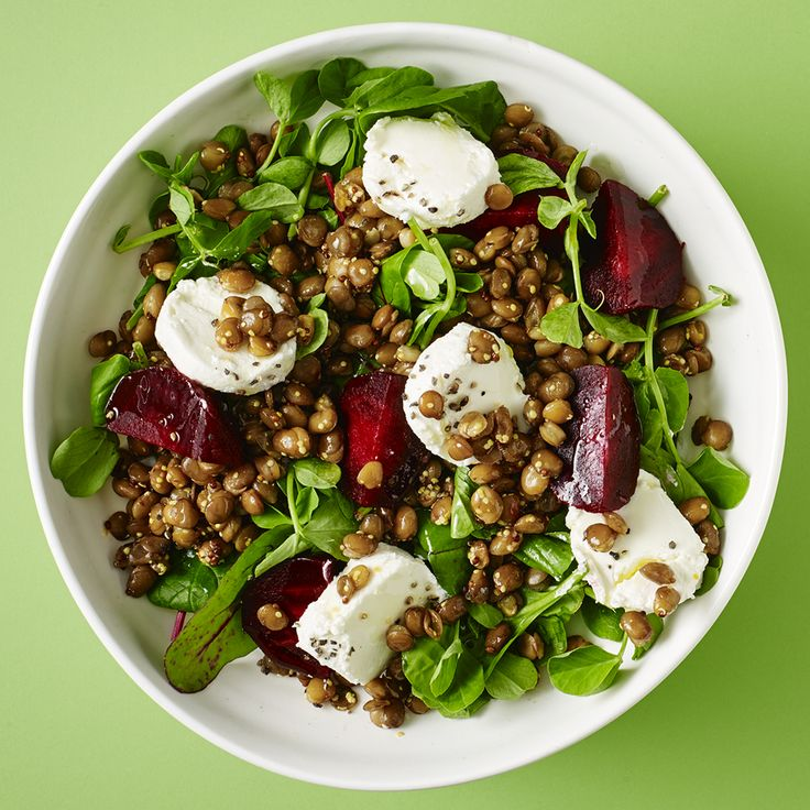 A new lunchtime favourite - you can make it at the office - packed with beetroot, goats' cheese and lentils.