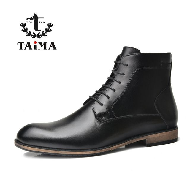 Check it on our site TAIMA Brand Fashion Men Boots Autumn and Winter Warm Short Plush Cowhide Leather Ankle Boots Business Casual Boots For Men Black just only $88.10 with free shipping worldwide  #menshoes Plese click on picture to see our special price for you