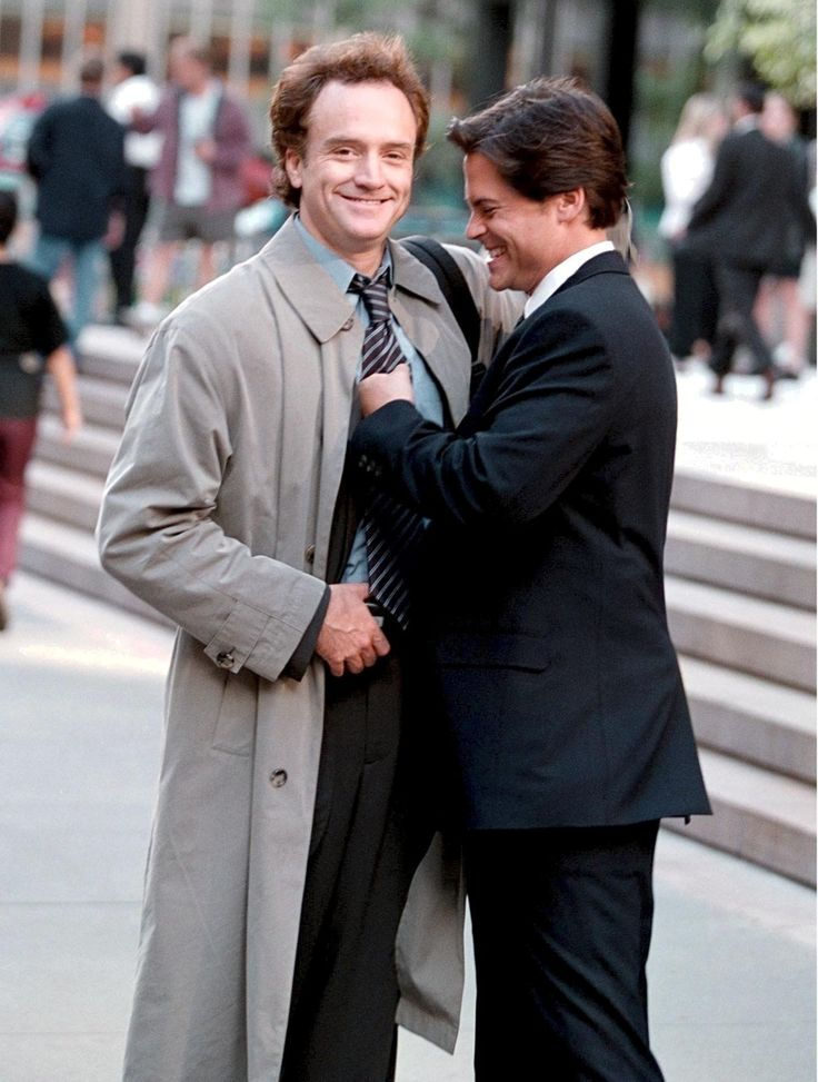 Bradley Whitford & Rob Lowe on the set of The West Wing in 2000.