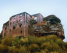 Ruins of Frankenstein Village Castle in the Rhineland near Kaiserslautern, Germany
