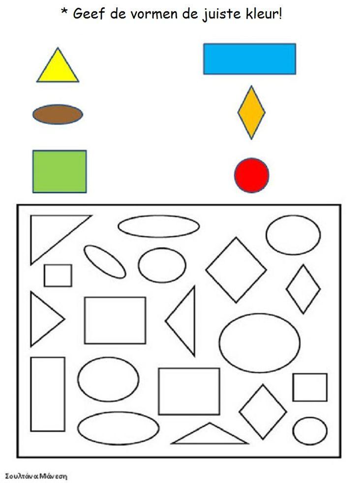 * Geef de vormen de juiste kleur!