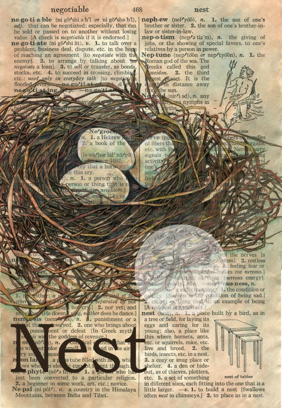 PRINT  Nest Mixed Media Drawing on Distressed by flyingshoes, $35.00