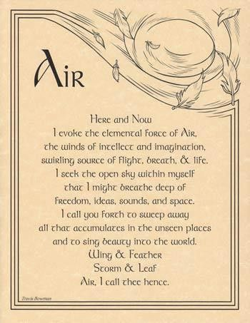 "Call the element of Air into your ritual craft with the words provided on this parchment poster, which provides a handy reference to aid you within your evocation of the elements. 8 12"" x 11""."