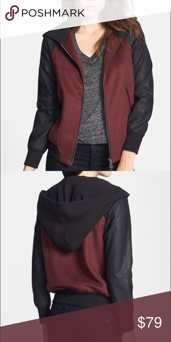 Bomber Jacket Maroon, hooded, bomber jacket with faux leather sleeves. DV by Dolce Vita Jackets & Coats