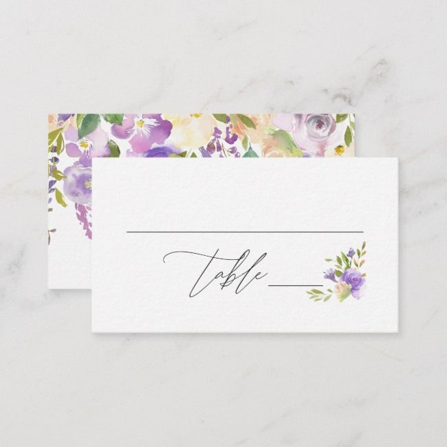 Purple Watercolor Floral Calligraphy Double Sided Place Card Zazzle Com Purple Watercolor Floral Watercolor Printing Double Sided